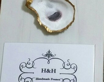 Oyster With Gold Leaf on Handmade Wood Frame - Painted and Distressed Old White - Coastal - Gift - Large Quantities - For 4x6 Photo.