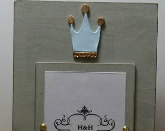 Crown With Gold Leaf on Handmade Wood Picture Frame - Painted and Distressed Franciscan Grey  - 5x7 Vertical Photo - Gift.