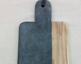 Shaped Hand Polished Black  Marble Cheese Board With Natural Mango Wood Hostess or Wedding Gift.