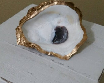 Wooden Box with Real Oyster Shell with Gold Leaf, Painted Distressed White - Jewelry Box, Storage - Handmade - Large Size
