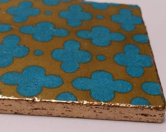 Coasters Moroccan Aqua - Gold Edge -Travertine Drink Coasters - Set of 4