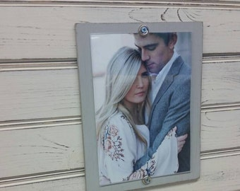 Handmade Beadboard Picture Frame - to hold 5x7 photo. Painted aged finish with a wood mat. Coastal - Wedding - Baby Gift - Family Grouping