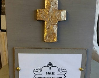 Handmade Wood Frame Painted French Linen Distressed With A Gold Leaf Cross - Wedding - Baby - Baptism - House Warming Gift.