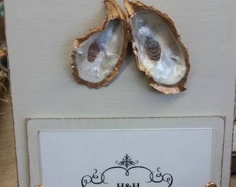 Oysters With Gold Leaf on Handmade Wood Picture Frame - Painted and Distressed Silver Mink - Coastal - Gift - Beach.