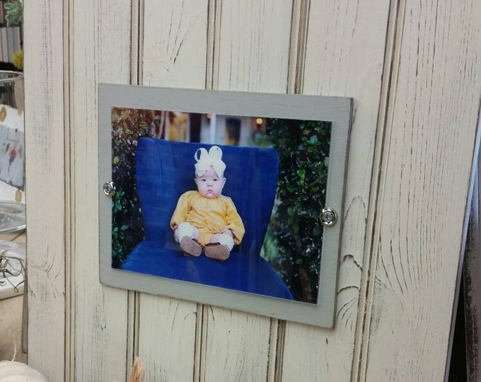 Featured listing image: Handmade Beadboard Picture Frame - to hold 5x7 photo. Painted aged finish with a wood mat. Coastal - Wedding - Baby Gift - Family Grouping