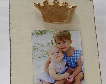 Handmade Wood Frame 4x6 Photo Painted Off White Distressed With A Gold Clay Crown - Wedding - Baby - Baptism - House Warming Gift.