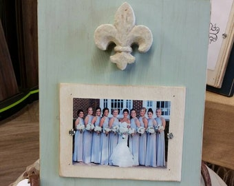 Handmade Painted Wood Picture Frame - With aged finish with antique fleur- de -lis the french symbol  for new beginnings.