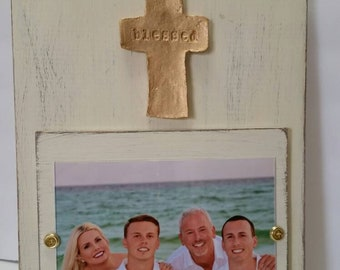 Handmade Wood Frame Painted Old White Distressed With A Gold Cross Personalized With BLESSED - Wedding - Baby - Baptism - House Warming Gift