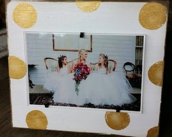 Handmade Wood Frame 4x6 Photo Painted Off White Distressed With Gold Circles - Wedding - Baby - Baptism - House Warming Gift.