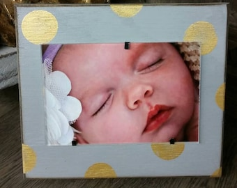 Handmade Wood Frame 4x6 Photo Painted Grey  Distressed With Gold Circles - Wedding - Baby - Baptism - House Warming Gift.