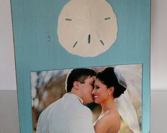 Handmade Wood 4 x 6 Picture Frame - Turquoise  with White Large Sand Dollar - Gift