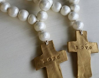 White Handmade Clay Blessings Beads With Gold Cross -  Wedding Gift,  Baby Gift, Housewarming Gift, Bridal Shower Gift.