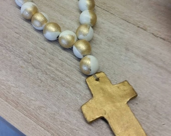 Serenity Blessing Beads Wood Large With Gold Leaf Handmade Clay  Cross -  Wedding Gift,  Baby Gift, Housewarming Gift, Bridal Shower Gift.