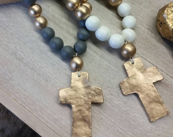Large Handmade Wood and Clay Blessings Beads With Gold Cross -  Wedding Gift,  Baby Gift, Housewarming Gift, Bridal Shower Gift.