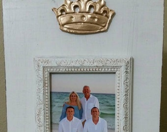 Handmade Beautiful Wood Distressed Picture Frame - Oyster White aged finish with Gold Leaf Crown 4x6 Photo