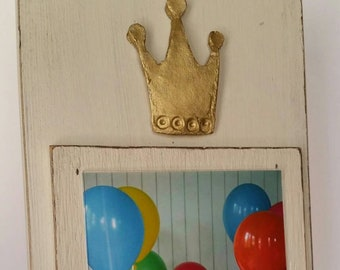 Crown With Gold Leaf on Handmade Wood Picture Frame - Painted and Distressed Oyster White - 5x7 Vertical Photo - Gift.