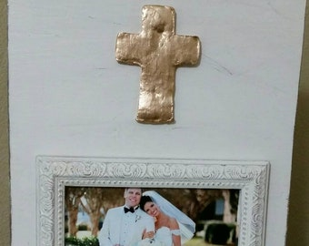 Handmade Beautiful Wood Distressed Picture Frame - Oyster White aged finish with Gold Leaf Cross 4x6 Photo