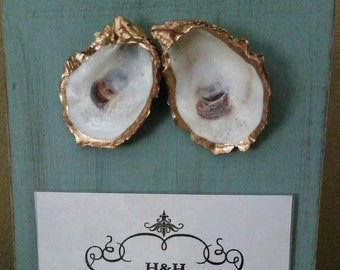 Oyster With Gold Leaf on Handmade Wood Frame - Painted and Distressed Duck Egg Blue  - Coastal - Gift - Beach For 4x6 Photo.