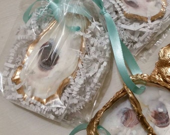 Oyster Shell With Gold Leaf - Wedding Favor, Gift Tag, Hostess Gift, Housewarming, or Gift Exchange With Tiffany Blue Hanging Ribbon