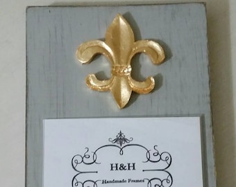 Handmade Wood Frame 4x6 Photo Painted Off White Distressed With A Gold Leaf  Fleur de lis  - Mardi Gras - Nola- New Orleans