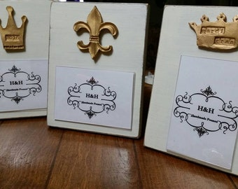 Handmade Wood Frame 4x6 Photo Painted Off White Distressed With A Gold Clay Crown With 2018 - Wedding - Baby - Baptism - Mardi Gras - Host