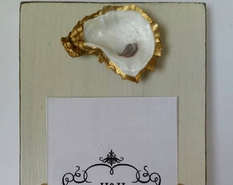 Oyster With Gold Leaf on Handmade Wood Picture Frame - Painted and Distressed Old White - Coastal - Gift - Beach - 5×7 Photo.