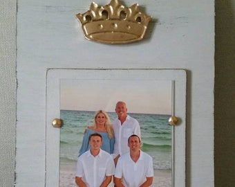Gold Leaf Crown on Wood Picture Frame - Painted and Distressed Light Gray - 5x7 Vertical Photo - Gift - Mardi Gras - Handmade