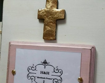 Handmade Wood Frame  - White and Pink Distressed aged finish with Gold Cross - Wedding - Baby - House Warming Gift.