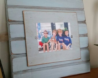 Handmade Beadboard Picture Frame - to hold 5x7 photo. Nottaway Blue aged finish with a wood mat.
