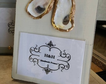 Oyster Shells With Gold Leaf on Handmade Wood Frame - Painted and Distressed White - Coastal - Gift - Beach For 4x6 Photo