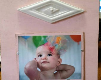 Handmade Frame with a Vintage Diamond Shaped Ceramic Tile - Perfect for Girl's Room or Nursery