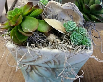 McCoy Pottery -Lilybud Planter - 1940s - Vintage -  With Faux Succulents, Seashells, Driftwood and Spanish Moss - Arrangement.