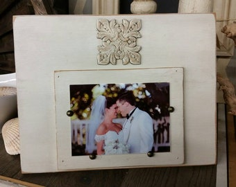 Handmade Frame Wood Distressed Painted Cream- Aged Finish with Stained Wood Deco.