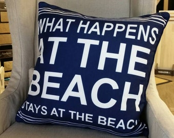 "20"" Decorative Accent Pillow Navy and White includes insert. - What Happens at the Beach."
