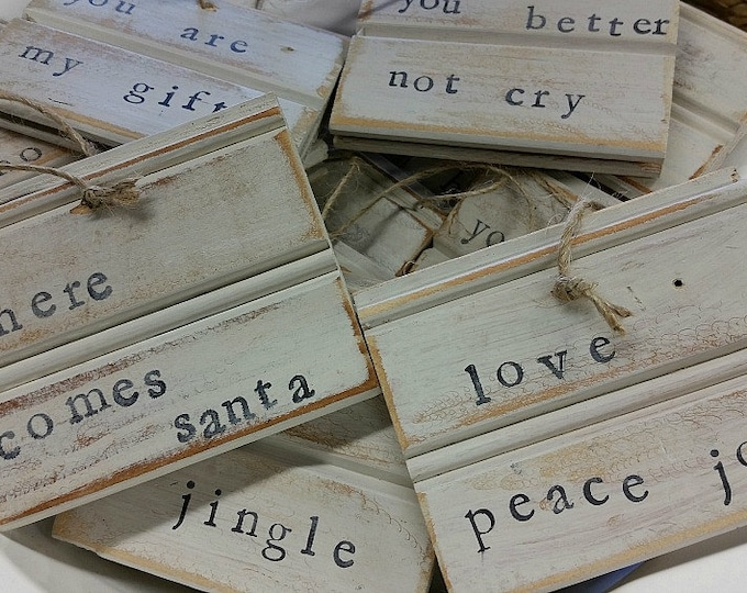 Featured listing image: Reclaimed Wood Beadboard Christmas Ornaments  Or Gift Tags - Hand Stamped with saying.