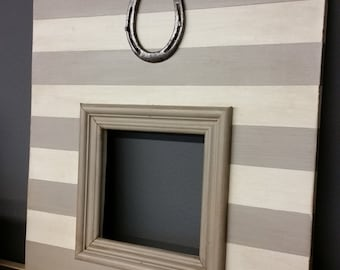 Distressed handmade picture frame - Painted wide stripe pattern with Vintage Horseshoe -  Great Gift Idea For Horse Lover