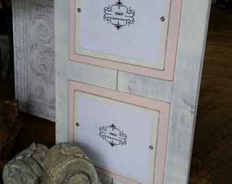 Wood Plank Handmade Double 8x10 Picture Frame - Aged White Wash Finish with Double Wood Mats White and Pink (Porcelain Doll).