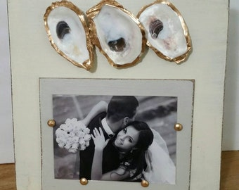 Oysters With Gold Leaf on Handmade Wood Picture Frame - Painted and Distressed Old White - Coastal - Gift - Beach.