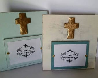 Handmade Wood Frame Painted Oyster White with Turquoise - Distressed aged finish with Gold Cross - Wedding - Baby - House Warming Gift.