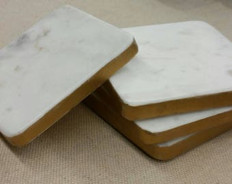 Carrara Marble With Gold Leaf Drink Coasters Set of Four Hostess Gift Housewarming
