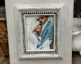 Distressed Handmade Picture Frame - Painted Off White - Chunky Moulding - Great Gift Idea - For Nursery or Family Room - Wedding Gift.