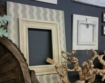 Distressed large handmade picture frame - Painted soft chevron pattern -Great Gift Idea - For Nursery or Family Room.