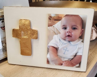Gold Gilded Cross Personalized With Initial Wood Frame 4x6 Vertical Photo Painted Distessed Oyster White Christening Baby Weddings Gift
