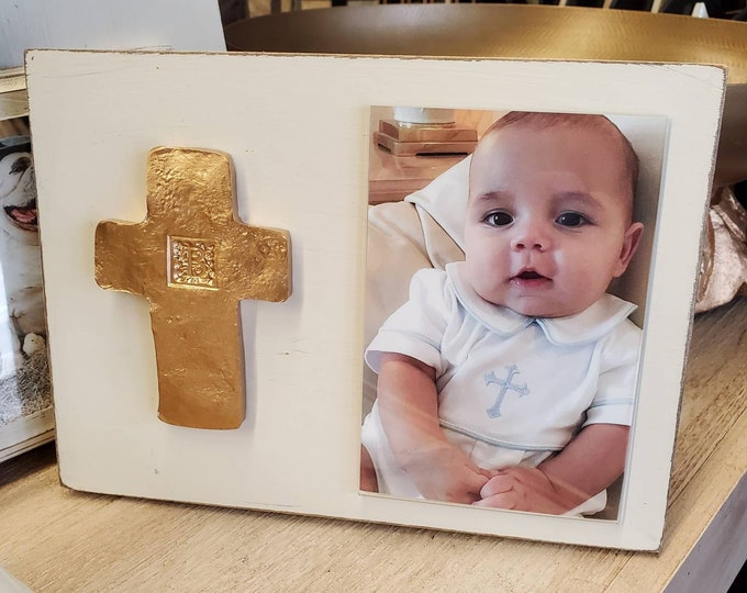 Featured listing image: Gold Gilded Cross Personalized With Initial Wood Frame 4x6 Vertical Photo Painted Distessed Oyster White Christening Baby Weddings Gift