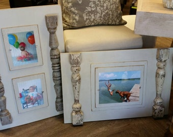 Picture Frame Wood  -  Distressed 100 yr old porch spindles from NOLA. Holds a 8x10 Picture. Great Gift Idea - For Nursery or Wedding Gift.