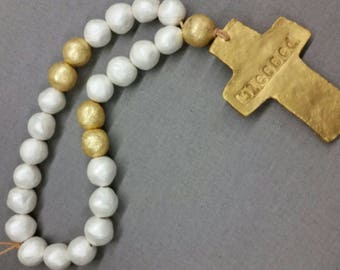 White Handmade Clay Blessings Beads With Gold Leaf Cross - Anniversary, Wedding Gift,  Baby Gift, Housewarming Gift, Bridal Shower Gift.