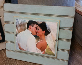 Handmade Beadboard Picture Frame - to hold 8x10 photo. Nottaway Blue aged finish with a wood mat.