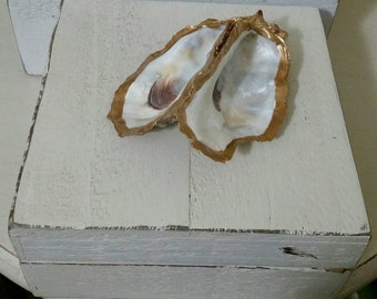 Wooden Box with Real Oyster Shell with Gold Leaf, Painted Distressed White - Jewelry Box, Storage - Handmade - Medium Size.