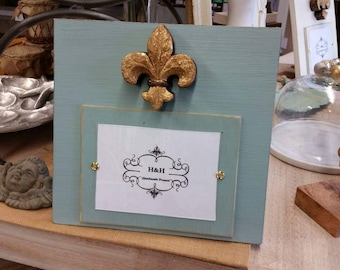 Handmade Wood Picture Frame - Annie Sloan Duck Egg aged finish with Antique Gold Leaf Fleur-de-lis  5x7 Photo