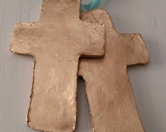 Gold Finish - Handmade Large Clay Hanging Cross - Ornaments Or Gift Tags - Hostess Gift- Housewarming- Blue Ribbon.